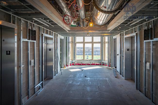 March 8, 2017; Corbett Family Hall 9th floor during construction (Photo by Matt Cashore/University of Notre Dame)