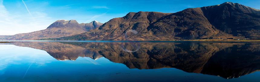 Beinn Alligin and Liathach reflected in Upper Loch Torridon, Annat, Ross & Cromarty, Northwest Highlands