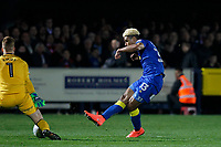 GOAL - Lyle Taylor of AFC Wimbledon slots the ball home for 1-0 during the Sky Bet League 1 match between AFC Wimbledon and Charlton Athletic at the Cherry Red Records Stadium, Kingston, England on 10 April 2018. Photo by Carlton Myrie / PRiME Media Images.