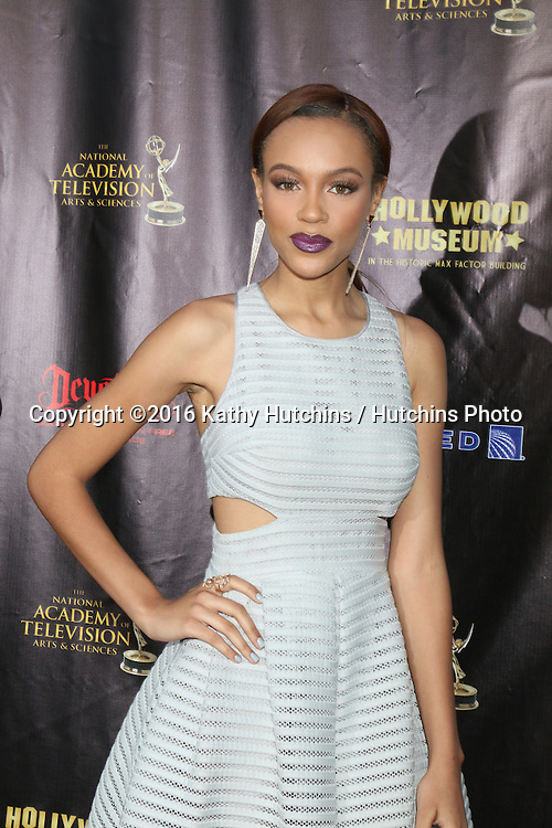 LOS ANGELES - APR 27:  Reign Edwards at the 2016 Daytime EMMY Awards Nominees Reception at the Hollywood Museum on April 27, 2016 in Los Angeles, CA