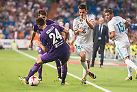 Real Madrid's Dani Ceballos and Theo Hernandez and Fiorentina's Marco Benassi during XXXVIII Santiago Bernabeu Trophy at Santiago Bernabeu Stadium in Madrid, Spain August 23, 2017. (ALTERPHOTOS/Borja B.Hojas) /NortePhoto.com