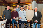 Tralee Warriors  celebration night after winning Champions Trophy at Meadowlands Hotel on Friday. Pictured l-r Kieran Donaghy, Garry Fernane, Dusan Bogdanovic, Rick Leonard Ryan Leonard, Trae Pemberton and Head coach, Mark Bernsen