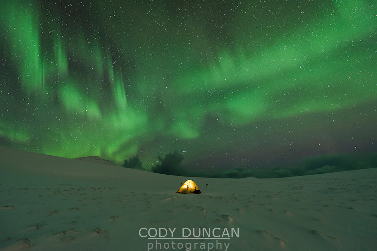 Tent in snow covered landscape with northern lights in night sky, Lofoten Islands, Norway