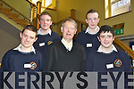 Ceiliuradh na nOg,  a youth celebration project, an initiative of the Diocese of Kerry held magic workshops in the Brandon Hotel on Thursday as part of their Youth Celebration Day. Pictured with Micheal O Muircheartaigh are students from Phobail Sliabh Luachra, from left: Patrick O'Callaghan, Shane Ryan, Kevin Dunlea and Michael O'Shea.