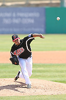 Frank Lopez (29) of the High Desert Mavericks pitches during a game against the Bakersfield Blaze at Mavericks Stadium on May 18, 2015 in Adelanto, California. High Desert defeated Bakersfield, 7-6. (Larry Goren/Four Seam Images)