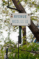 Avenue Nicolas II, Nice, France, 28 April 2012. The street is home to the Russian Orthodox Cathedral.