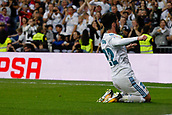 1st October 2017, Santiago Bernabeu, Madrid, Spain; La Liga football, Real Madrid versus Espanyol; Francisco Roman Alarcon (22) Real Madrid celebrates after scoring his team´s goal for 2-0