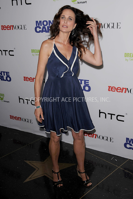 WWW.ACEPIXS.COM . . . . . .June 23, 2011...New York City...Actress Andie MacDowell attends the 'Monte Carlo' screening at AMC Loews Lincoln Square on June 23, 2011 in New York City.....Please byline: KRISTIN CALLAHAN - ACEPIXS.COM.. . . . . . ..Ace Pictures, Inc: ..tel: (212) 243 8787 or (646) 769 0430..e-mail: info@acepixs.com..web: http://www.acepixs.com .