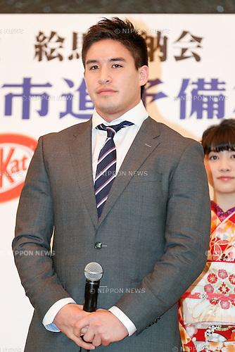 Olympic judo gold medalist Mashu Baker attends a special Kit Kat event to encourage Japanese students for the next school entrance exams, at Yushima Tenjin Shrine on January 12, 2017, Tokyo, Japan. Nestle's Kit Kat product is popular with students because its pronunciation in Japanese sounds like ''Kitto Katsu'' which means ''surely win''. Every year Japanese students tie hand-written wishes and messages at the shrine, wishing for luck in passing entrance exams to high school and colleges. The Yushima Tenjin Shrine is dedicated to the god of learning. (Photo by Rodrigo Reyes Marin/AFLO)