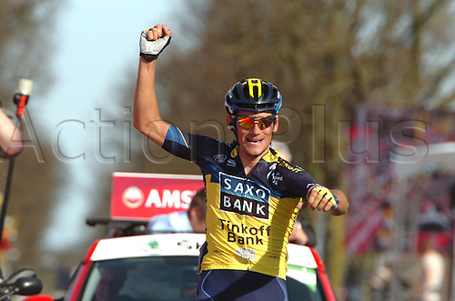 14.04.2013 Valkenburg, Holland. Roman Kreuziger wins the Amstel Gold Race in the Limburg province of the Netherlands.