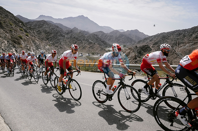 Cofidis team mates Geoffrey Soupe (FRA), Jesus Herrada (ESP), Luis Angel Mate (ESP) and Darwin Atapuma (COL) during Stage 5 of the 10th Tour of Oman 2019, running 152km from Samayil to Jabal Al Akhdhar (Green Mountain), Oman. 20th February 2019.<br /> Picture: ASO/P. Ballet | Cyclefile<br /> All photos usage must carry mandatory copyright credit (© Cyclefile | ASO/P. Ballet)
