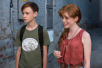It (2017)<br /> JAEDEN LIEBERHER as Bill Denbrough and SOPHIA LILLIS as Beverly Marsh<br /> *Filmstill - Editorial Use Only*<br /> CAP/KFS<br /> Image supplied by Capital Pictures