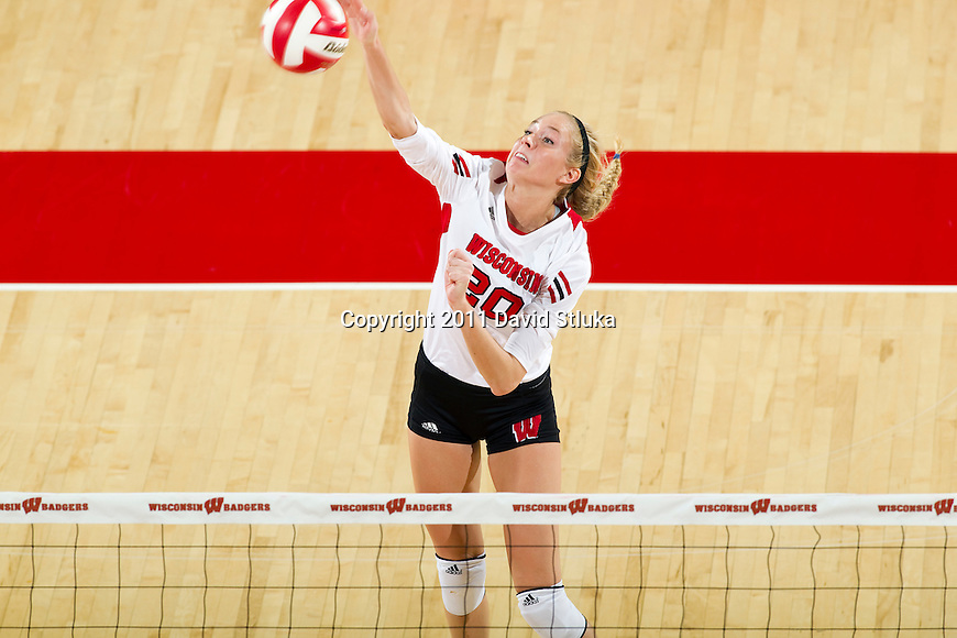 Wisconsin Badgers Ellen Chapman (20) during an NCAA women's college volleyball game against the Ohio State Buckeyes on November 4, 2011. The Buckeyes won 3-1. (Photo by David Stluka)