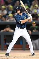 Left fielder Brian Sharp (7) of the Columbia Fireflies bats in a game against the Augusta GreenJackets on Saturday, June 1, 2019, at Segra Park in Columbia, South Carolina. Columbia won, 3-2. (Tom Priddy/Four Seam Images)