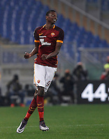 Calcio, Serie A: Roma vs Genoa. Roma, stadio Olimpico, 20 December 2015.<br /> Roma's Umar Sadiq celebrates after scoring during the Italian Serie A football match between Roma and Genoa at Rome's Olympic stadium, 20 December 2015.<br /> UPDATE IMAGES PRESS/Isabella Bonotto