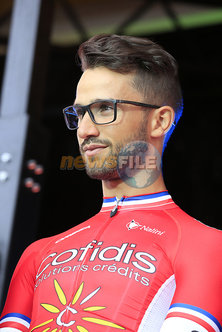 Nacer Bouhanni (FRA) Cofidis team on stage at the Team Presentation in Burgplatz Dusseldorf before the 104th edition of the Tour de France 2017, Dusseldorf, Germany. 29th June 2017.<br /> Picture: Eoin Clarke | Cyclefile<br /> <br /> <br /> All photos usage must carry mandatory copyright credit (&copy; Cyclefile | Eoin Clarke)
