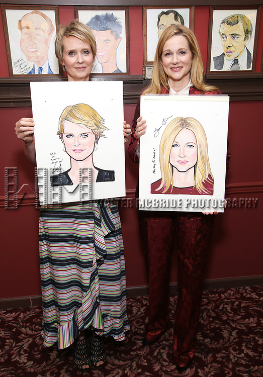 Cynthia Nixon and Laura Linney attends the portrait unveilings of Laura Linney and Cynthia Nixon starring on Broadway in the Manhattan Theatre Club's THE LITTLE FOXES, at Sardi's on June 29, 2017 in New York City.