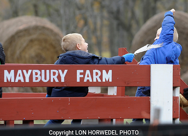 A friendly tickle with a goose feather as a pair of brothers wait for the wagon ride out to the Maybury State Park Corn Maze, Sunday afternoon, November 3. Sunday was the last day for the popular maze at the park. (Lon Horwedel/Special to the Free Press)