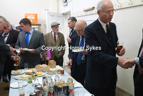 Barmote Court. Moot Hall Wirksworth Derbyshire. The members of the Court have a traditional bread, cheese and beer meal before the start of the court session.