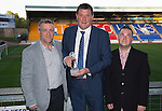 St Johnstone Player of the Year Awards 2014-15.....16.05.15<br /> Ray Burnie and Gareth Parry present the Auchterarder Saints Top Goal Scorer to manager Tommy Wright who accpeted it on behalf of Brian Graham<br /> Picture by Graeme Hart.<br /> Copyright Perthshire Picture Agency<br /> Tel: 01738 623350  Mobile: 07990 594431