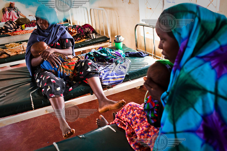 Women from Somalia hold their malnourished babies in the stabilisation ward at the GIZ main hospital at the Dadaab refugee camp in Kenya. The drought is the worst in East Africa for 60 years. The UN described it as a humanitarian emergency. The already overcrowded complex received 1,000 new refugees a day in June, five times more than a year ago. About 30,000 people arrived at the Dadaab refugee camp in June, according to UNHCR compared to 6,000 in June 2010.