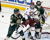 Brendan Bradley (UVM - 20), Connor Moore (BC - 7), Derek Lodermeier (UVM - 16) - The Boston College Eagles defeated the University of Vermont Catamounts 7-4 on Saturday, March 11, 2017, at Kelley Rink to sweep their Hockey East quarterfinal series.