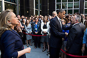 United States President Barack Obama shakes hands after addressing State Department employees in a courtyard at the State Department in Washington, D.C., September 12, 2012. U.S. Secretary of State Hillary Rodham Clinton stands at left. .Mandatory Credit: Pete Souza - White House via CNP