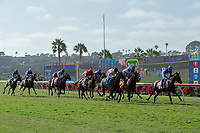 DEL MAR, CA  AUGUST 4: The field at the start of the Yellow Ribbon Handicap (Grade ll) on August 4, 2018 at Del Mar Thoroughbred Club in Del Mar, CA.(Photo by Casey Phillips/Eclipse Sportswire/ Getty Images)