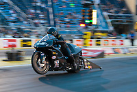 May 31, 2019; Joliet, IL, USA; NHRA pro stock motorcycle rider Jianna Salinas during qualifying for the Route 66 Nationals at Route 66 Raceway. Mandatory Credit: Mark J. Rebilas-USA TODAY Sports
