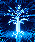 Glowing digital tree on circuit board, conceptual illustration blue on black background