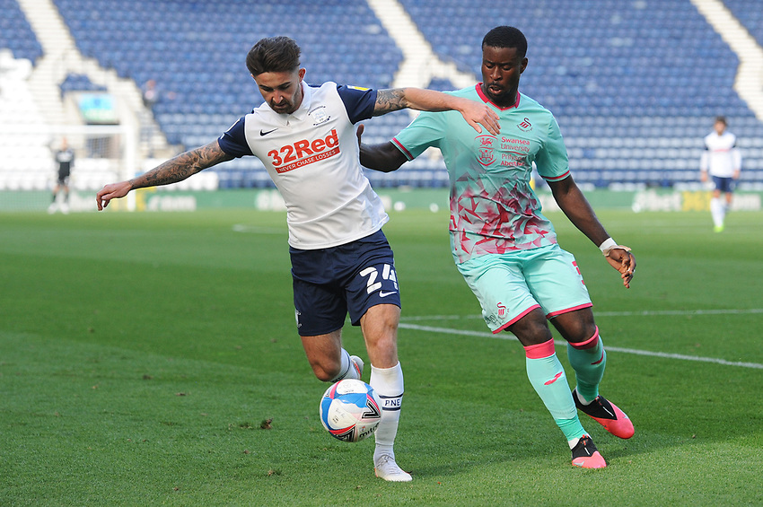 Preston North End's Sean Maguire under pressure from Swansea City's Marc Guehi<br /> <br /> Photographer Kevin Barnes/CameraSport<br /> <br /> The EFL Sky Bet Championship - Preston North End v Swansea City - Saturday September 12th 2020 - Deepdale - Preston<br /> <br /> World Copyright © 2020 CameraSport. All rights reserved. 43 Linden Ave. Countesthorpe. Leicester. England. LE8 5PG - Tel: +44 (0) 116 277 4147 - admin@camerasport.com - www.camerasport.com