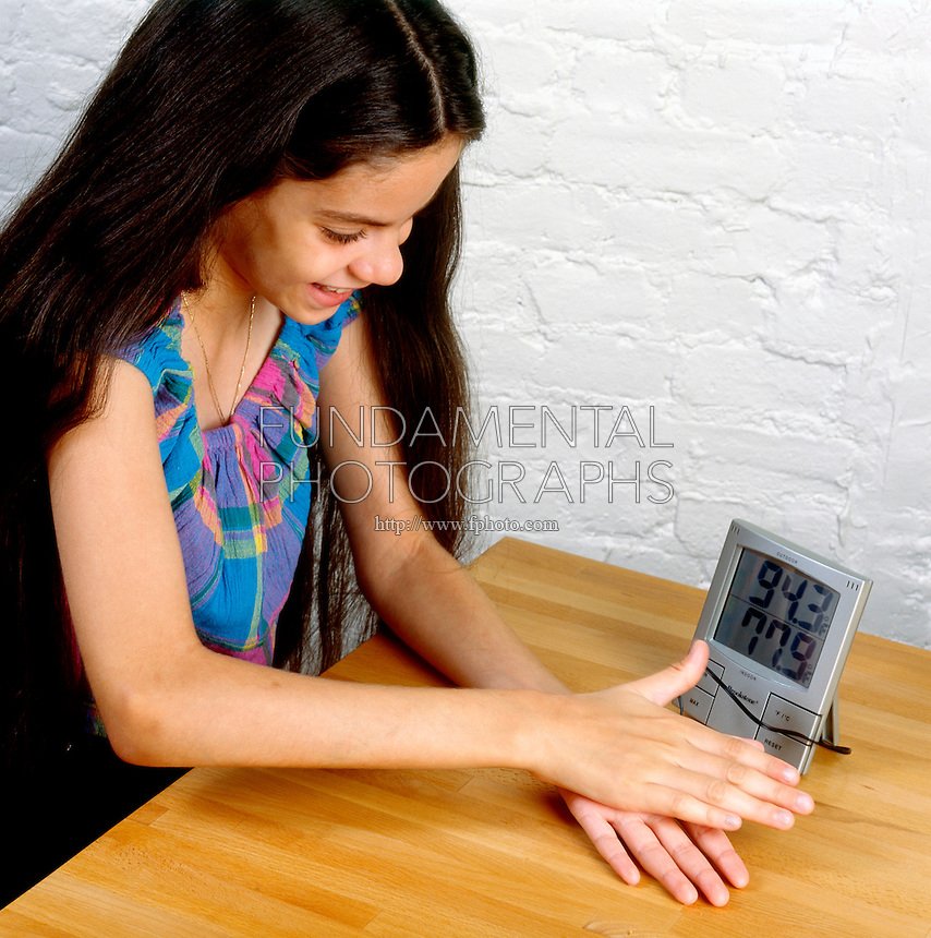 MEASURING HEAT CAUSED BY FRICTION<br /> Using Indoor Outdoor Thermometer Sensor<br /> (Variations Available).<br /> By taping the sensor of an indoor/outdoor themometer to her hand a student can measure the amount of heat generated by rubbing her hand together.