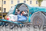 CRASH: Ricky O'Brien, Daniel Murphy and Miroslav Hricko of the KDYS My Project road safety and drug awareness taking part in the accident and rescue simulation at the Square, Tralee on Saturday.
