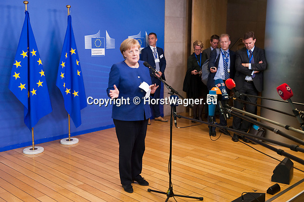 Belgium, Brussels - June 24, 2018 -- Informal working meeting on migration and asylum issues convened by the President of the European Commission; here, Angela MERKEL, Federal Chancellor of Germany, addressing the media -- Photo © HorstWagner.eu