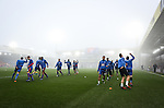 Crystal Palace's players warm up in the fog during the Premier League match at Selhurst Park Stadium, London. Picture date December 17th, 2016 Pic David Klein/Sportimage