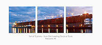 Display a print in a different way with this 3-image photo split of the upper harbor iron ore loading dock at dusk. Marquette, MI