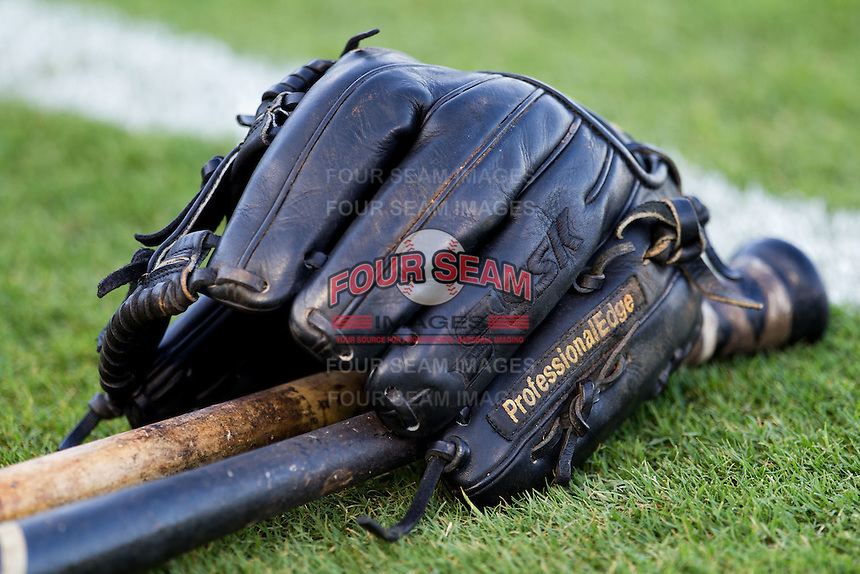 Baseball glove at the Dell Diamond in Round Rock, Texas. (Andrew Woolley/Four Seam Images).