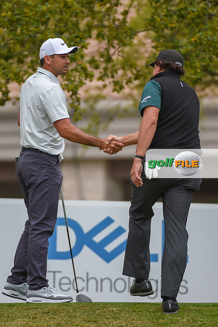 Jason Day (AUS) shakes hands with Phil Mickelson (USA) as they meet on the tee on 1 during day 3 of the WGC Dell Match Play, at the Austin Country Club, Austin, Texas, USA. 3/29/2019.<br /> Picture: Golffile | Ken Murray<br /> <br /> <br /> All photo usage must carry mandatory copyright credit (© Golffile | Ken Murray)