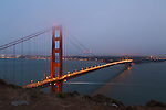 The Golden Gate Bridge at dusk in San Francisco, CA, USA