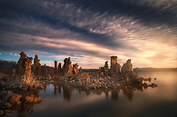 Glowing tuffas at sunset. Mono Lake, CA