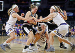 SIOUX FALLS, SD: MARCH 6: Mikaela Shaw #22 of Omaha shields the ball from Western Illinois players during the Summit League Basketball Championship on March 6, 2017 at the Denny Sanford Premier Center in Sioux Falls, SD. (Photo by Dick Carlson/Inertia)