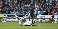 Leicester City's Harvey Barnes and Huddersfield Town's Jonathan Hogg <br /> <br /> Photographer Stephen White/CameraSport<br /> <br /> The Premier League - Huddersfield Town v Leicester City - Saturday 6th April 2019 - John Smith's Stadium - Huddersfield<br /> <br /> World Copyright © 2019 CameraSport. All rights reserved. 43 Linden Ave. Countesthorpe. Leicester. England. LE8 5PG - Tel: +44 (0) 116 277 4147 - admin@camerasport.com - www.camerasport.com