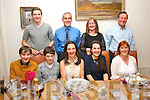 Sharon Cahill, Oakpark, Tralee (seated centre) celebrated a special birthday last Sunday night in Bella Bia, Tralee (seated) l-r: Sean, Eoin, Sharon and Aoife Cahill with Mary Sugrue. Back l-r: Liam, Denis and Brenda Cahill with George Sugrue.