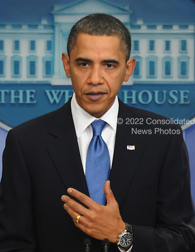 United States President Barack Obama speaks at an impromptu news conference in the Brady Briefing Room of the White House in Washington on Tuesday, February 9, 2010.  Obama urged compromise and bipartisanship with the Republican opposition on efforts such as health care and bringing down the deficit.  .Credit: Alexis C. Glenn / Pool via CNP