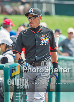 19 March 2015: Miami Marlins outfielder Ichiro Suzuki walks to the dugout prior to a Spring Training game against the Atlanta Braves at Champion Stadium in the ESPN Wide World of Sports Complex in Kissimmee, Florida. The Braves defeated the Marlins 6-3 in Grapefruit League play. Mandatory Credit: Ed Wolfstein Photo *** RAW (NEF) Image File Available ***