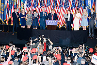 President-elect Donald Trump speaks to the crowd in the ballroom in the Midtown Hilton at the election night victory rally for Republican presidential nominee Donald Trump, after the presidential race was called for Trump in the early hours of Nov. 9, 2016.