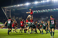 Billy Holland of Munster Rugby wins the ball at a lineout. European Rugby Champions Cup match, between Leicester Tigers and Munster Rugby on December 17, 2017 at Welford Road in Leicester, England. Photo by: Patrick Khachfe / JMP