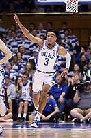 DUKE, NC - FEBRUARY 15: Tre Jones #3 of Duke University reacts to making a basket during a game between Notre Dame and Duke at Cameron Indoor Stadium on February 15, 2020 in Duke, North Carolina.