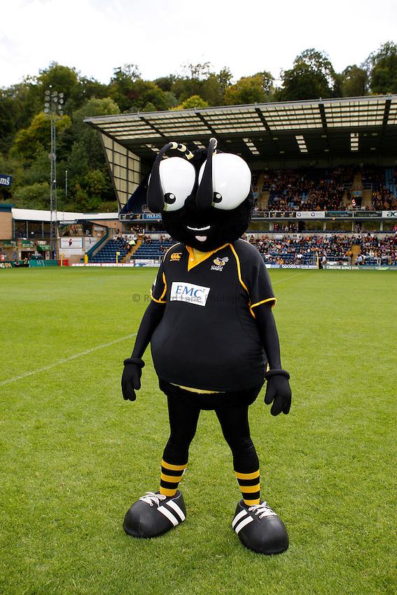 Photo: Richard Lane/Richard Lane Photography. London Wasps v Leicester Tigers. 11/09/2011. Wasps' mascot, Sting.