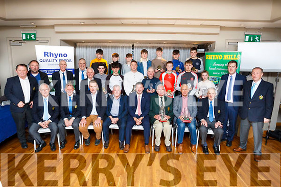 The Officers, Guests, Player of the Match winners, Special Merit Awards and Hall of Fame inductee at the annual North Kerry Hurling Boards awards evening held in the Ballyroe Heights Hotel on Friday last.